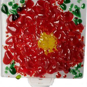 Red Flower Glass Night Light